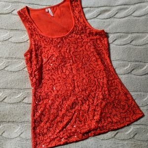 Maurices coral orange sequin sparkle tank top